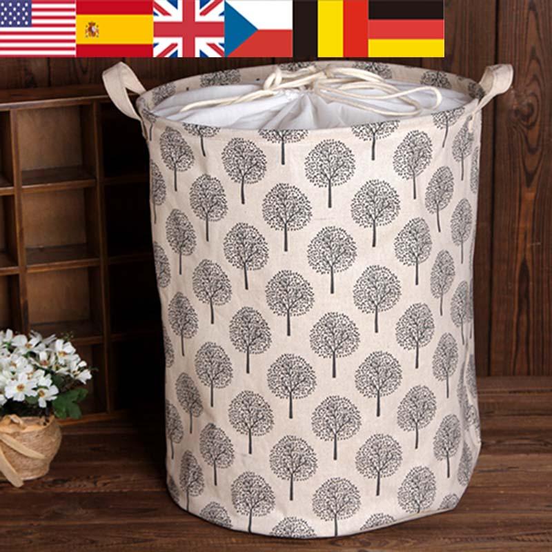 1pc algodão e linho dustproof lavanderia cesta coleta balde cesto brinquedo sujo roupas organizador de armazenamento com fecho 35x45cm