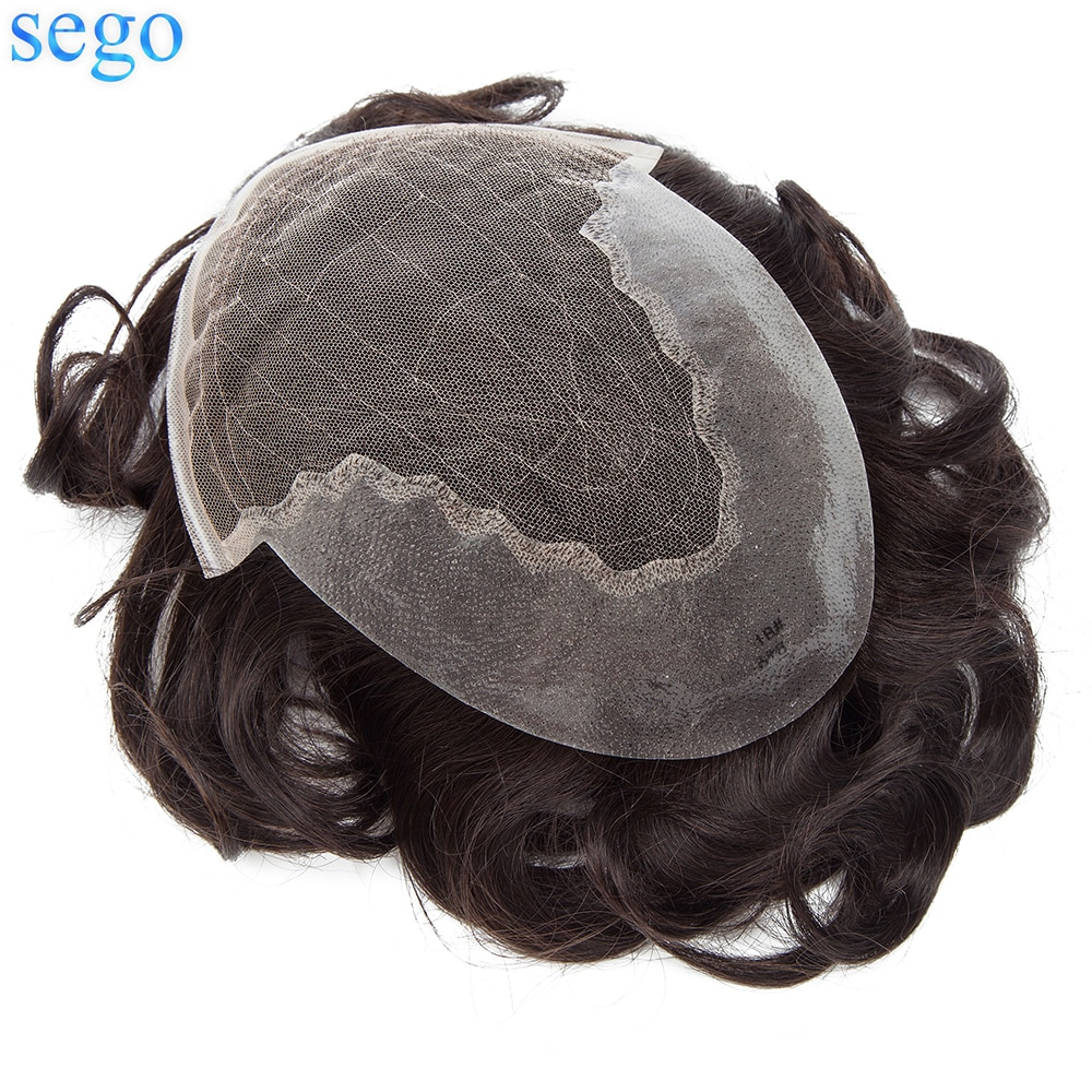 SEGO 6''x8'' French Lace & PU Base Men Toupee Human Hair Patch Indian Hair System Replacement Hairpiece Density 95%