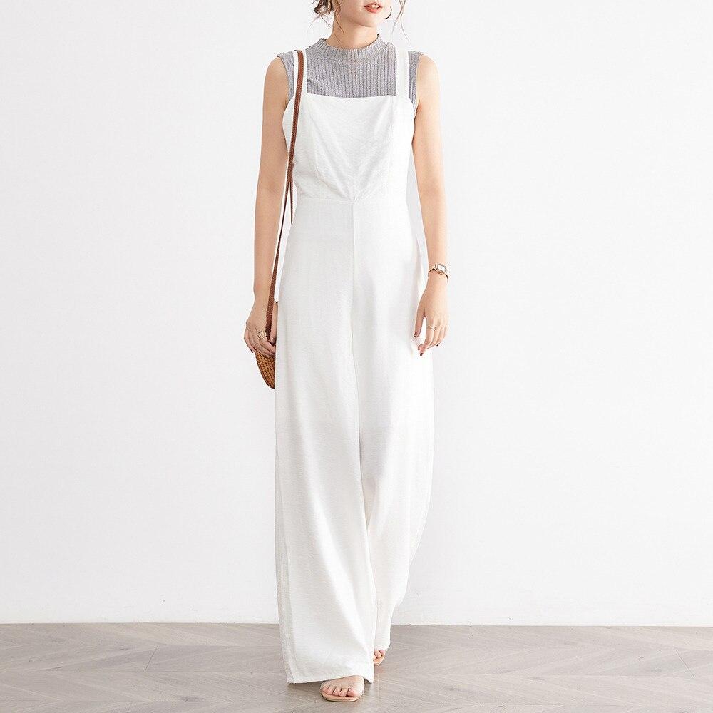 Jumpsuit 2021 New Style Full Length Inelastic Slim Model Plain All-Season Bow Straps Fashion All-mat