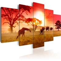 no framed canvas 5pcs african animals giraffes and elephant wall art posters prints pictures paintings home decor decorations