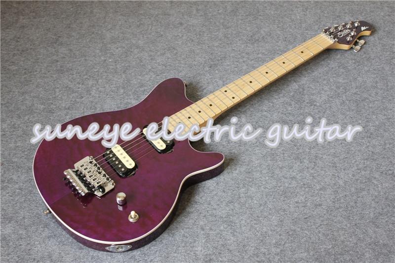 Guitarra eléctrica con acabado acolchado, guitarra eléctrica con Hardware cromado, color púrpura,...