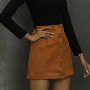 Women Buttoned Bodycon Mini Skirts Khaki Strench High Waist Sexy Club Skirt Summer Spring Autumn