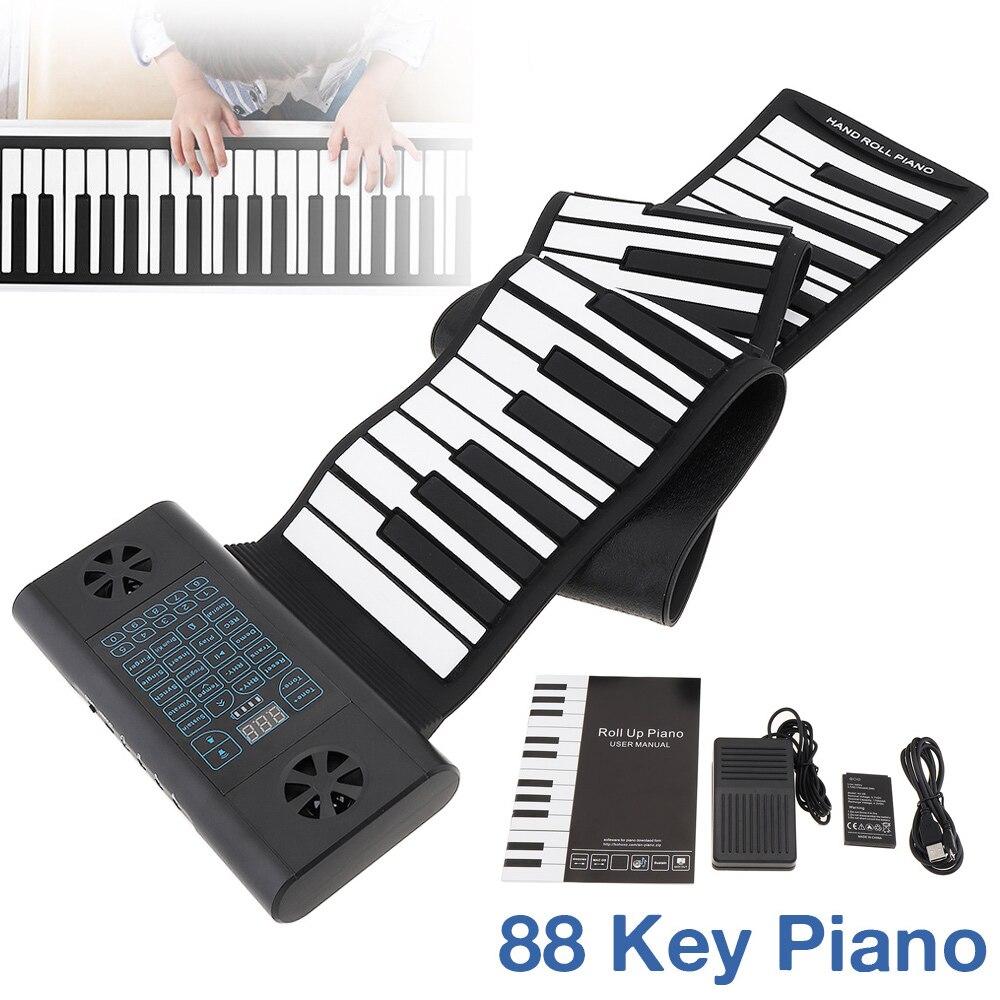 Teclados flexibles de silicona portátiles recargables electrónicos de Piano de 88 teclas MIDI enrolladas con 2 altavoces integrados