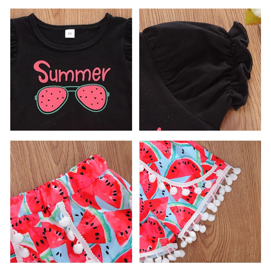 Toddler Set Summer Beach Kids Baby Girls Letter T shirt Pullover Cotton Tops Watermelon Print Shorts Outfits Baby Girl Clothes  - buy with discount