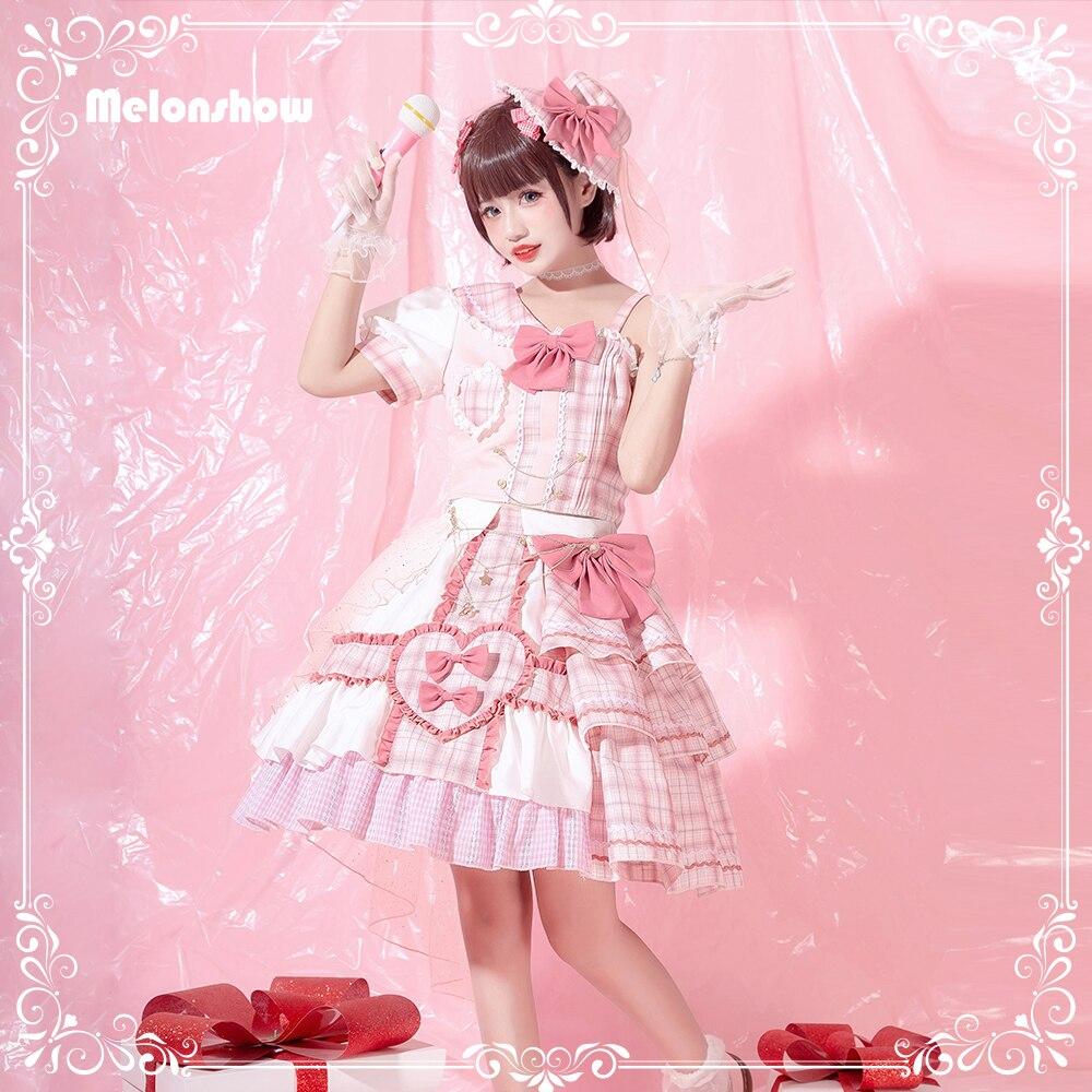 Melonshow اليابانية الحلو لوليتا تنورة فستان وردي حجم كبير النساء الملابس Kawaii القوس الدانتيل القطن لوليتا مجموعات الفتيات فستان الأميرة
