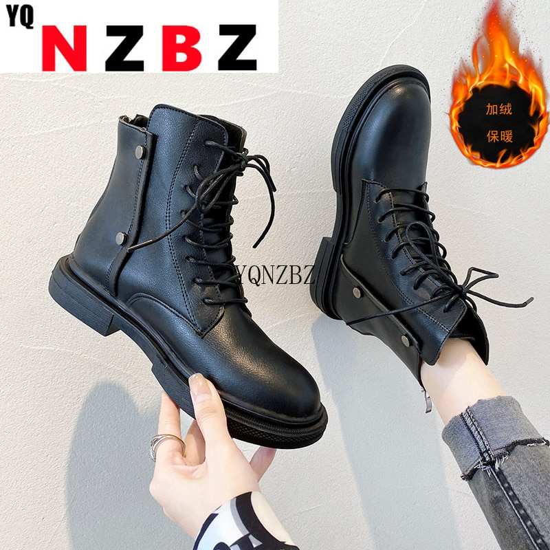 2021 Women Lace Up Ankle Boots Waterproof Platform Rivet Short Boots for Winter Autumn Fashion Round