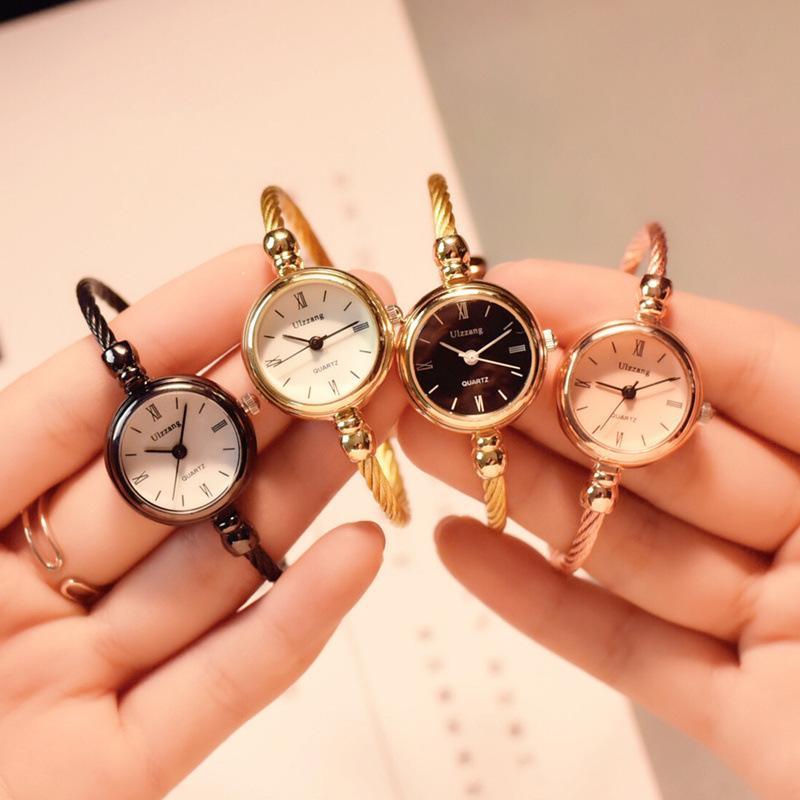 Small Gold Bangle Bracelet Luxury Watches Stainless Steel Retro Ladies Quartz Wristwatches Fashion C