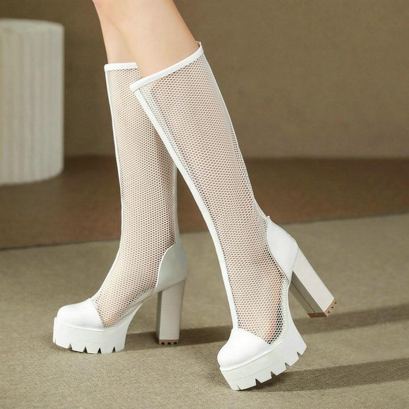 حذاء بوت نسائي من الجلد الصناعي بطول الركبة ، كعب مربع عالي ، حذاء صيفي ، سحاب خلفي ، مقاس كبير 43 ، 2021