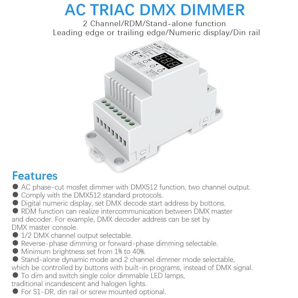 DMX512 LED Dimmer AC 220V 230V 110V 2 Channel Dimmable Triac DMX Controller DIM Rail Bulb Lamp Light Triac Dimmer Switch S1-DR
