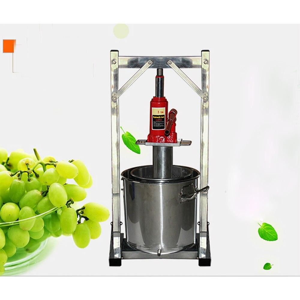 Exprimidor de jugo de fruta de uva 3T 12L con prensa en frío, máquina exprimidora de pulpa de uva Manual de acero inoxidable 304, envío gratis