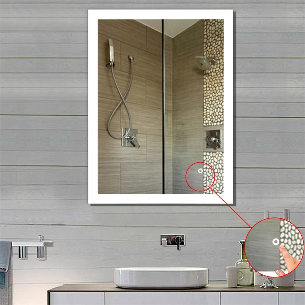 Salle de bain LED miroir Anti-buée poli vanité miroir salle de bain miroir salle de bain mural éclairé maquillage miroir HWC