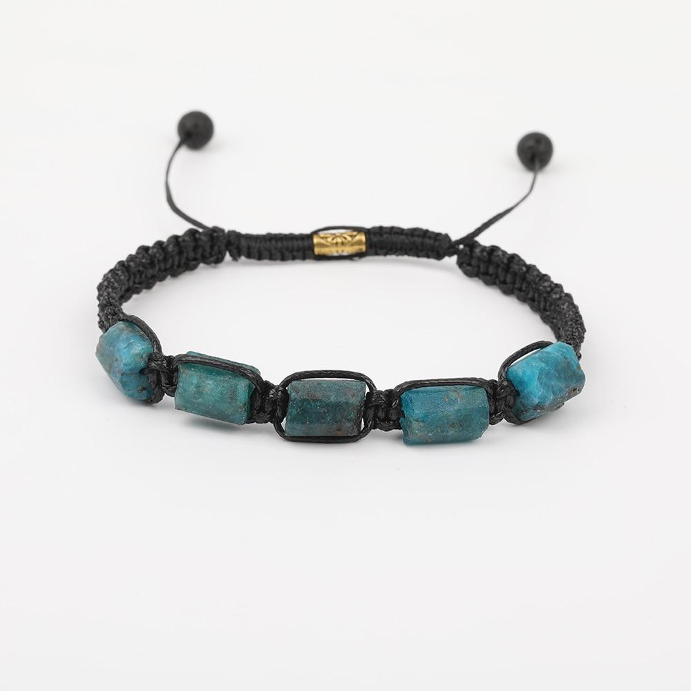 10 unids/lote turmalina negro Natural piedra Chip perlas 6mm cuentas de Lava negra anudada trenza pulsera para las mujeres N0456JBI