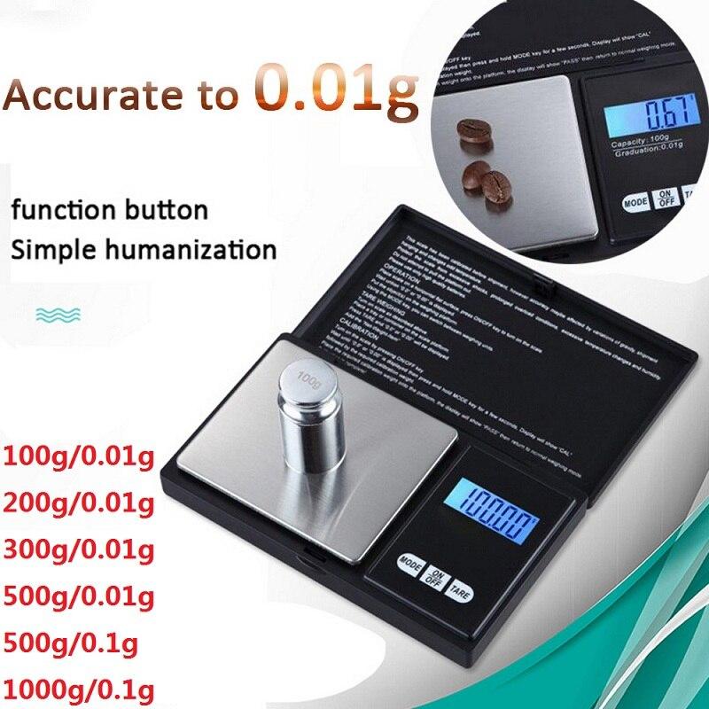 Didihou escala digital 100/200/300/500/1000g 0.01/0.1g display lcd preciso peso do grama da escala do bolso para a droga da joia da cozinha