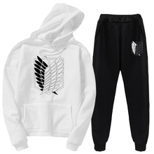 Autumn and winter attack giant sports suit 2-piece set Attack on Titan hoodie clothes street jacket