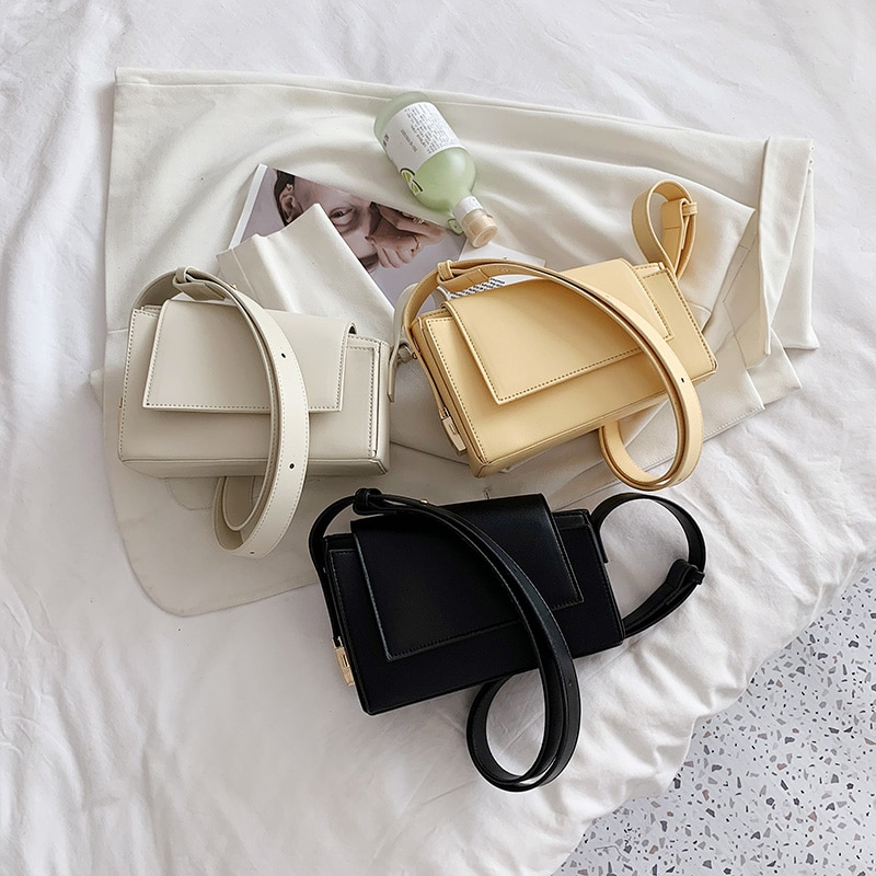 Simple Solid Color PU Leather Crossbody Bags For Women 2021 Summer Branded Shoulder Bag Trending Lux
