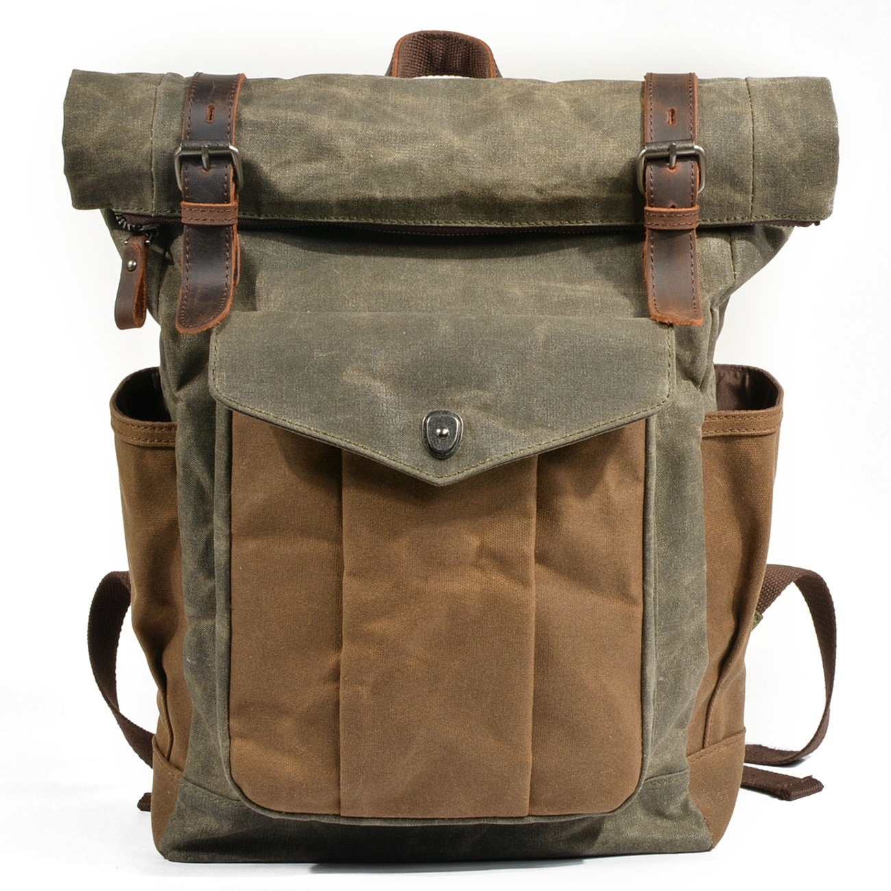 European and American Retro Backpack Men's and Women's Backpack Oil Wax Canvas Travel Laptop Bag Outdoor Sports Hiking Bag