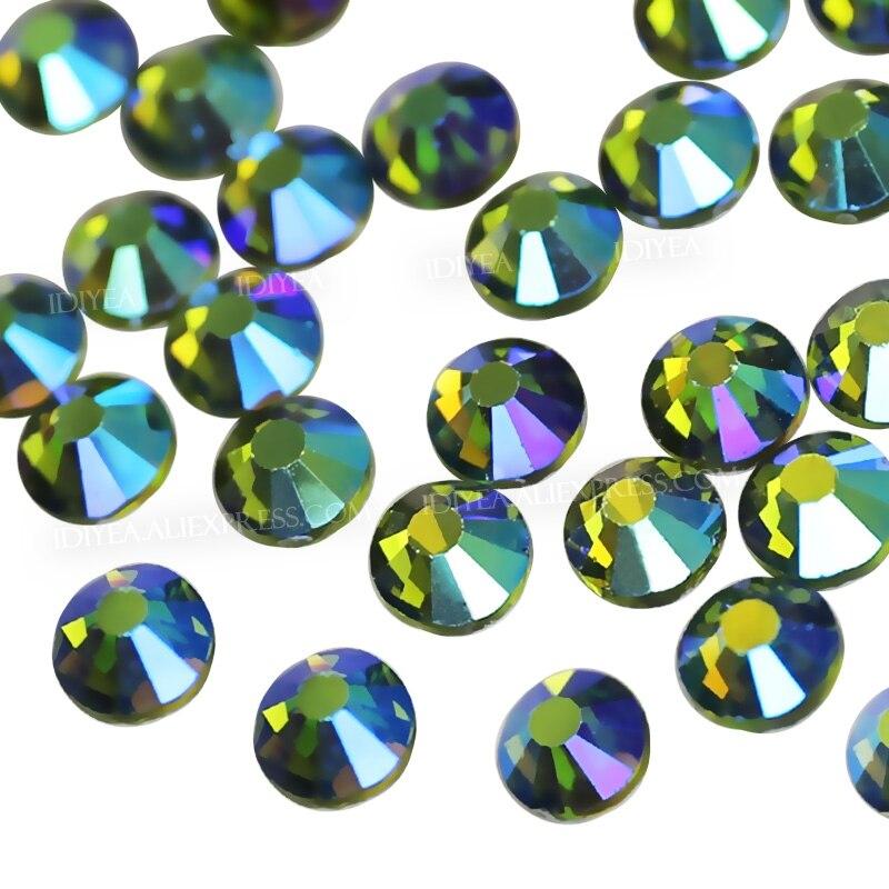 Olivine AB todos los tamaños SS3-SS30 Diamante de imitación para uñas arte glitters diseño cristal sin fijación en caliente strass para pegar en lentejuelas decoración de uñas