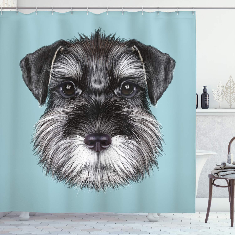 Animal Shower Curtain by Illustration of a Cute Baby Schnauzer on Blue Background Puppy Portrait Fabric Bathroom Decor Set