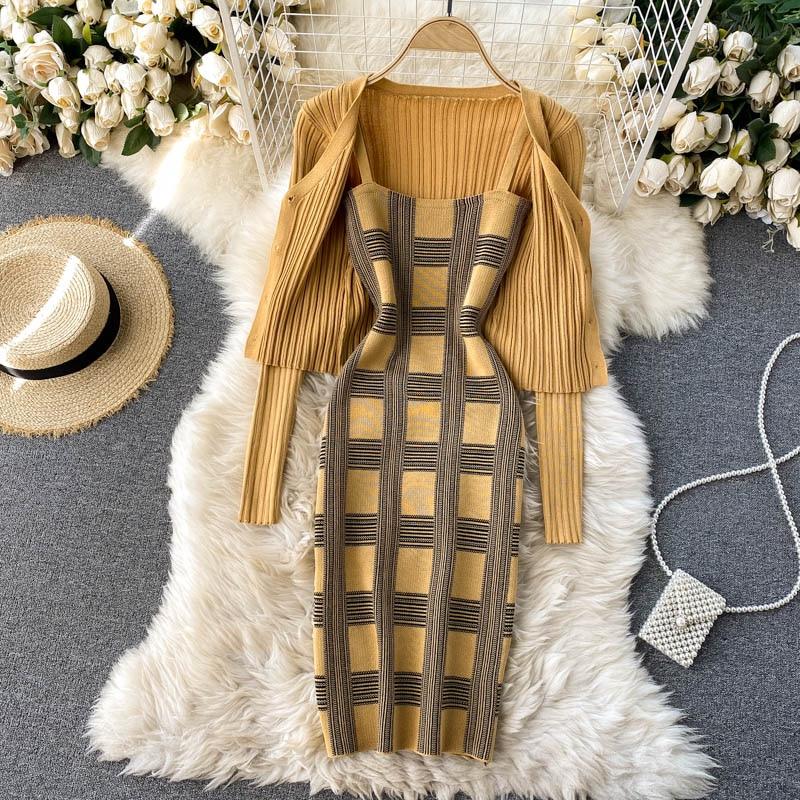 Women knit two piece set plaid print spaghetti strap bodycon mini dress and long sleeve knit cardigan suits womens clothing sets