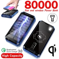 80000mah solar outdoor wireless power bank with dual usb led lights fast charging power bank outdoor battery charger for iphone