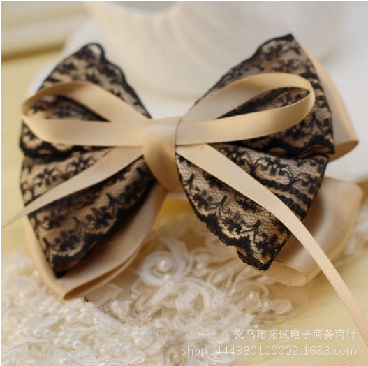 Women and children Korean lace big bow hair accessories handmade satin ribbon bow duckbill clip hair ring spring clip HDJ035