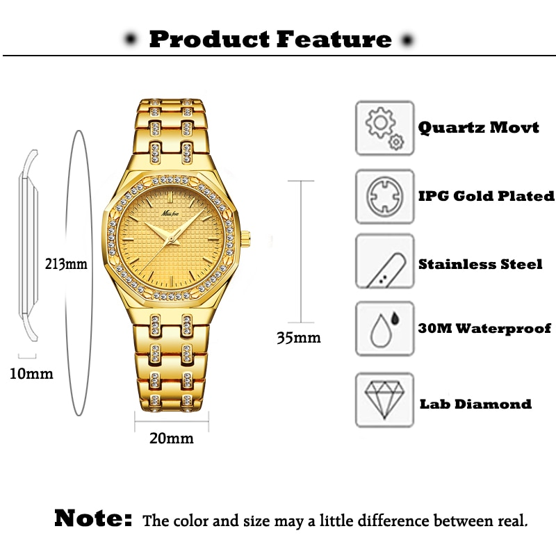 New MISSFOX 18K Gold Women Watches Top Luxury Brand Waterproof Quartz Ladies Wrist Watches Lab Diamond Fashion Female Clock Hour enlarge