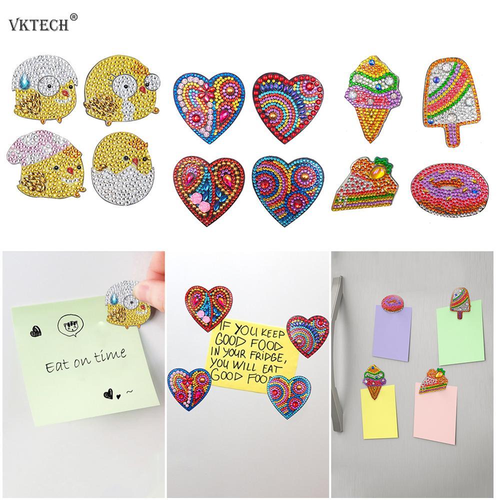 4pcs DIY Full Drill Special Shaped Diamond Painting Fridge Magnet Sticker Diamond Embroidery Chicken Heart Home Kitchen Decor