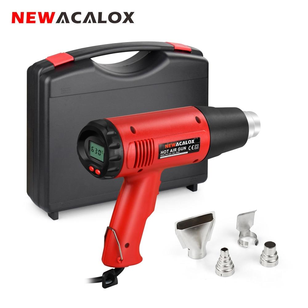 Termorregulador Industrial de pistola de calor eléctrica NEWACALOX de 2000W y 220V, pantalla LCD, pistola de aire caliente, calentador térmico de envoltura retráctil