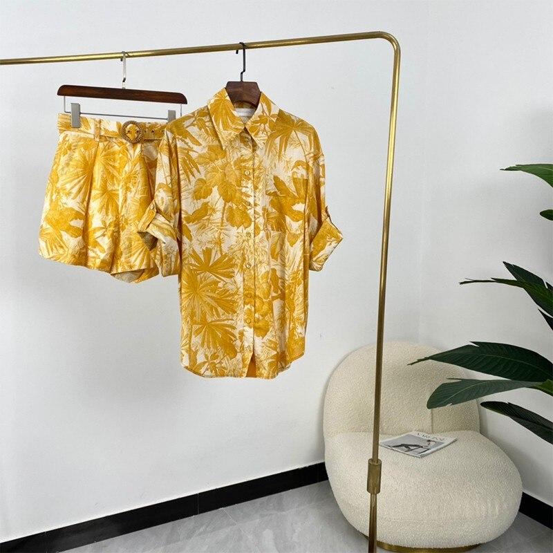 2021 جديد الصيف النساء موضة البرتقال النباتات طباعة السراويل دعوى مجموعة ملابس عالية الجودة