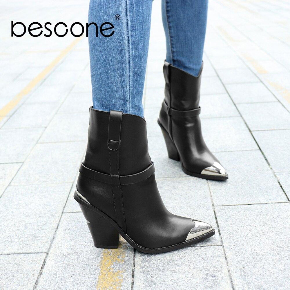 Besمخروط المرأة حذاء من الجلد الشتاء الأساسية اليدوية أشار تو الأسود ساحة الكعوب أحذية النساء الانزلاق على أحذية السيدات H8