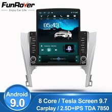 "Funrover 9,7 ""Tesla pantalla Android 9,0 reproductor Multimedia de vídeo para coche radio navegación GPS para Toyota Camry 50 55 2012-2014 SIN dvd"