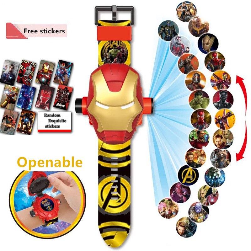 Children Watch Superhero Openable 24 Projection Cartoon Pattern Digital Children's Watch Boy Girl LE
