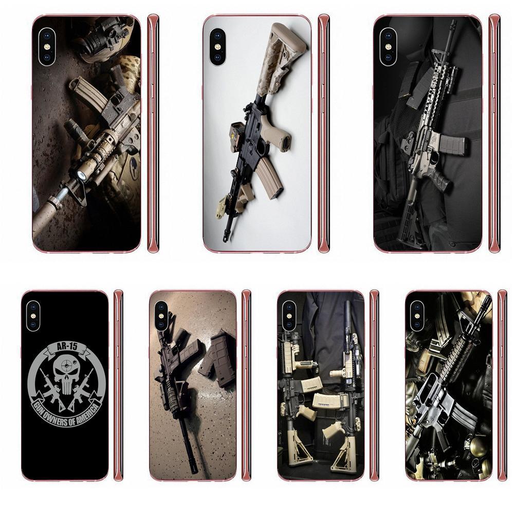 For Apple iPhone 11 Pro X XS Max XR 4 4S 5 5C 5S SE SE2 6 6S 7 8 Plus Soft TPU Mobile Pouch Ar-15 Rifles Ar 15 Guns