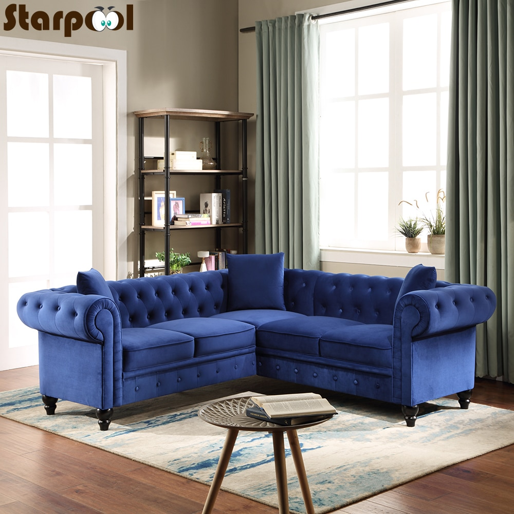 NEW Modern Fabric Sofa Set Living Room Furniture Fabric L Shape Sleeping Sectionals Blue Sofas corner sofas loveseat chair leather mixed fabric living room sets modern design sectional corner leather fabric sofa l shape
