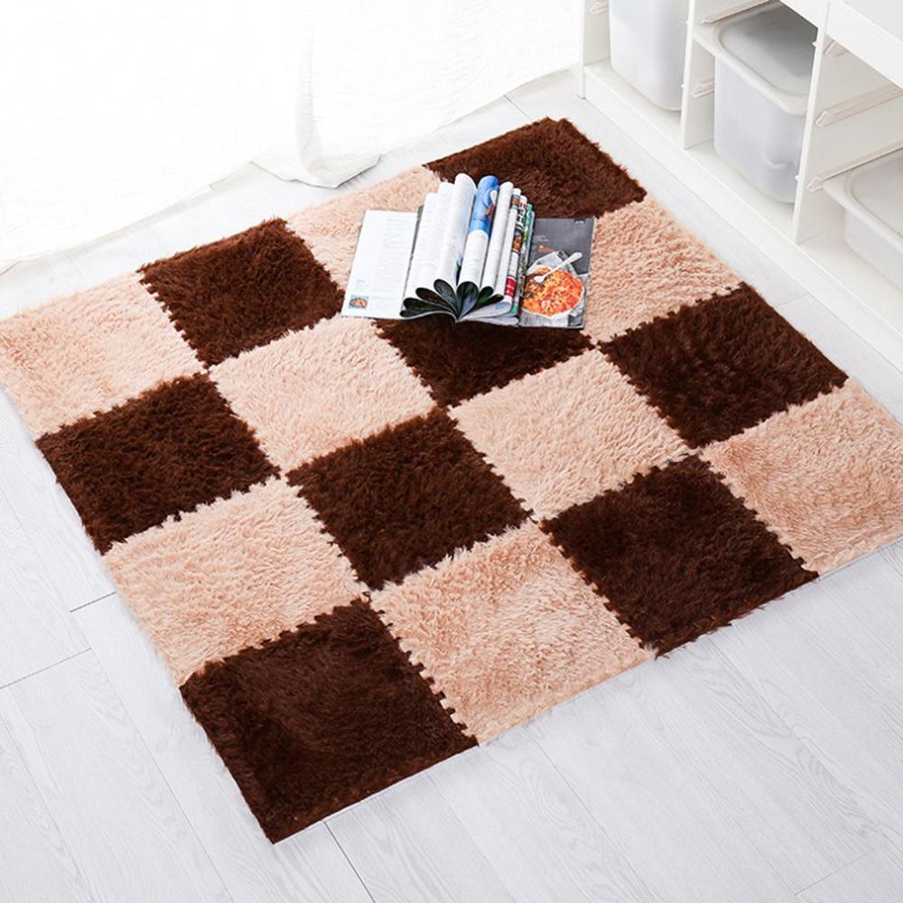 1PCS 30CM EVA Foam DIY Puzzle Mat Long Hair Villi Shaggy Carpet Mat Plush Soft Area Rug Children Baby Play Mats