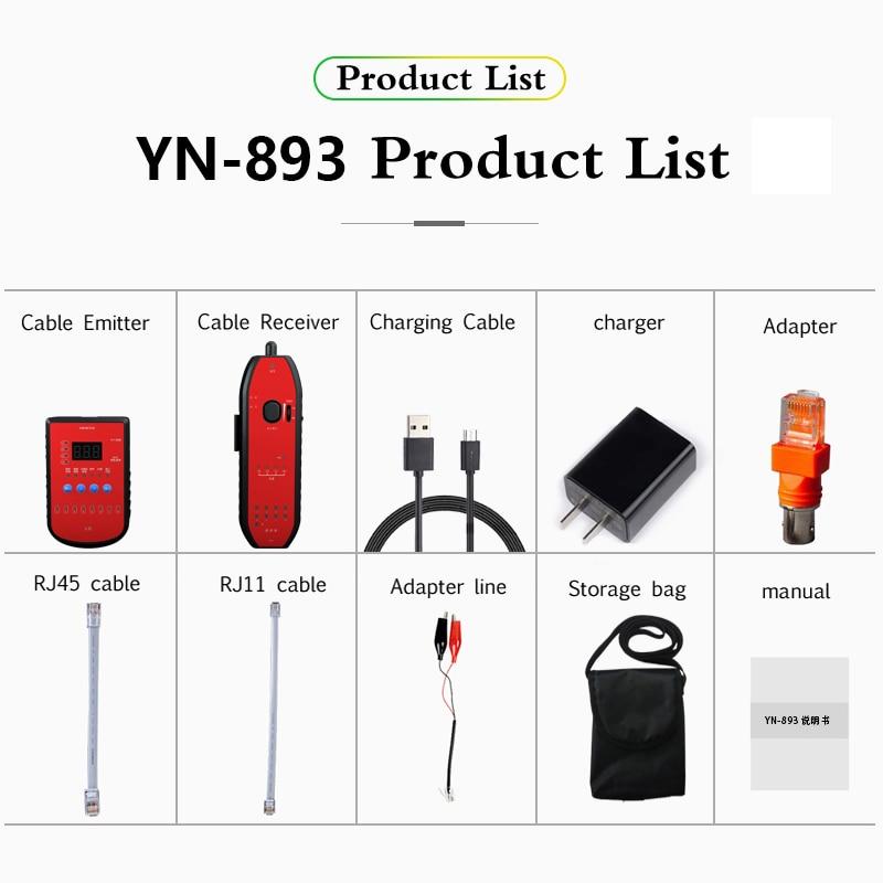 YN-893 RJ11 RJ45 POE Cat5 Cat6 Phone Wire Tracker Toner Eernet LAN Network Cable Tester Line Detector Finder CCTV Signal Tester enlarge