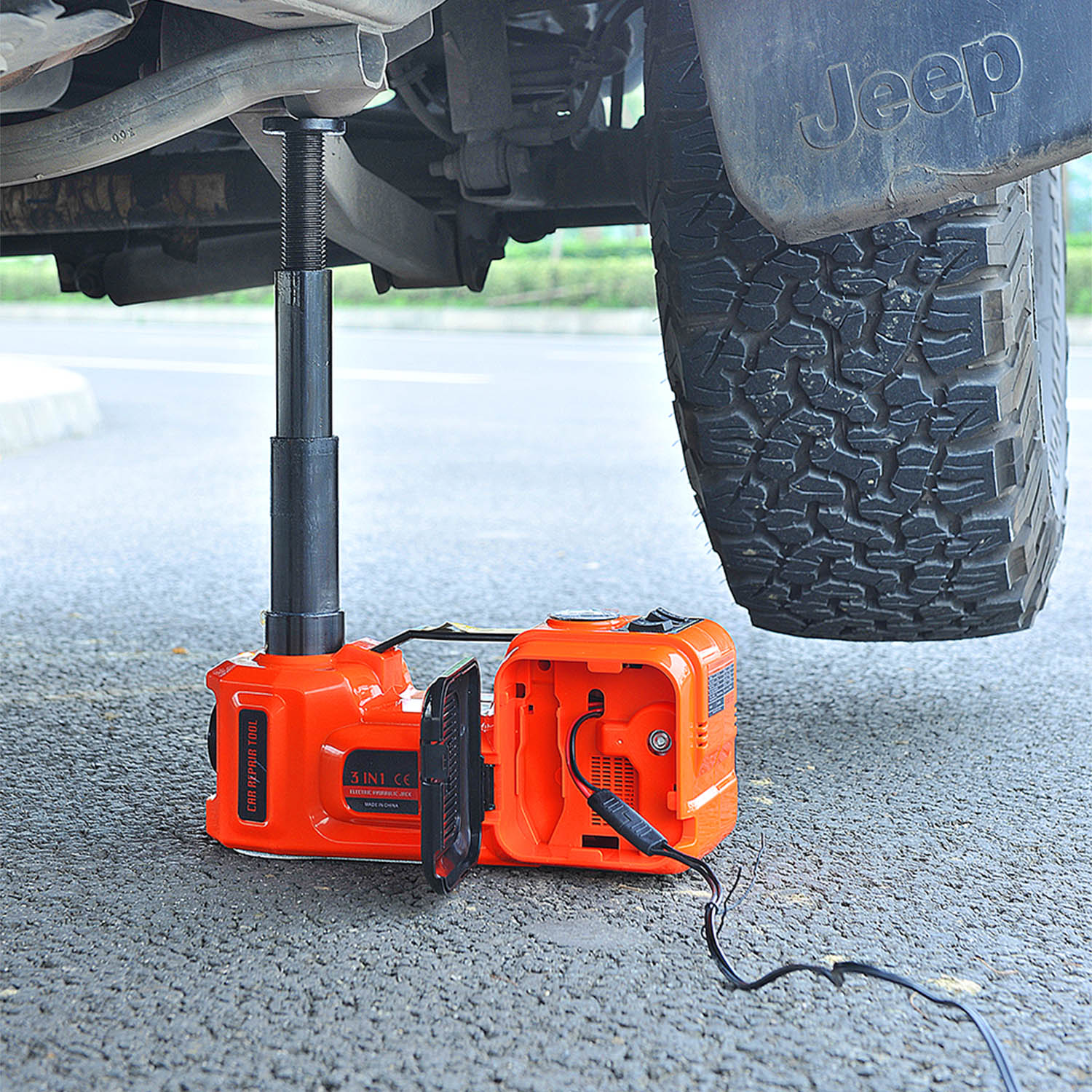 12V 5Ton Car Electric Hydraulic Floor Jack, Tire Inflator Pump and LED Flashlight 3 in 1 Set With Safe Hammer QZ002