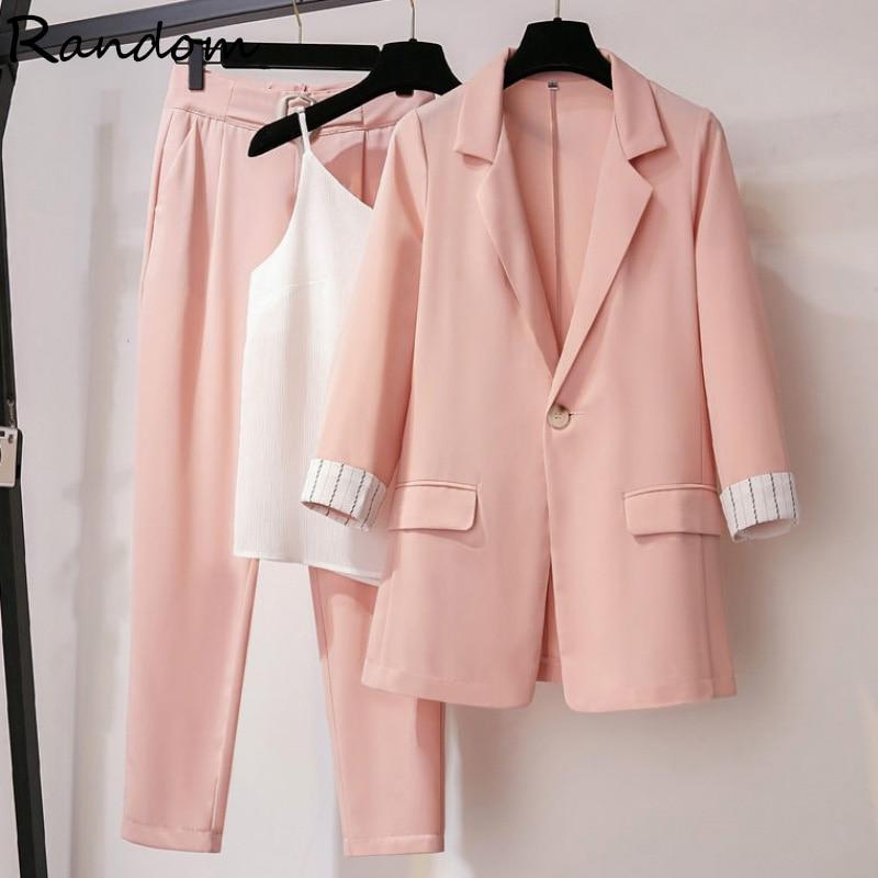 حجم كبير النساء السترة بدلة عمل سترة الإناث معطف أعلى و سترة بانت ثلاثة قطعة مكتب سيدة مطابقة مجموعة الربيع الصيف الوردي