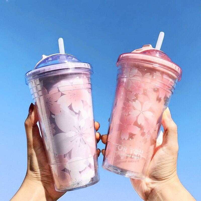 Ins 430 ml copo plástico garrafa de água gelo café suco de leite garrafa de bebida verão fresco dupla camada casal transparente palha copo