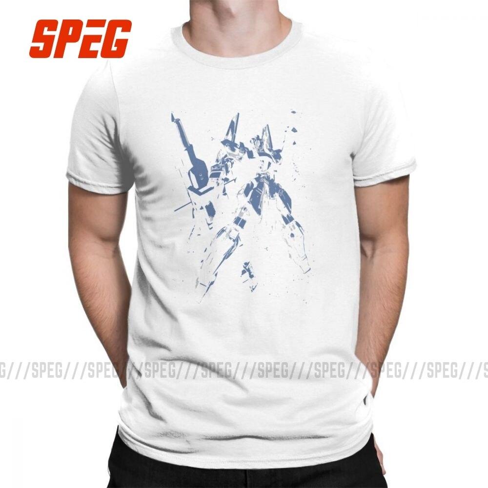 Gundam azul GDM camisetas de moda de alta calidad camisetas de Anime para hombres camisetas únicas de manga corta de algodón puro Crewneck Casual