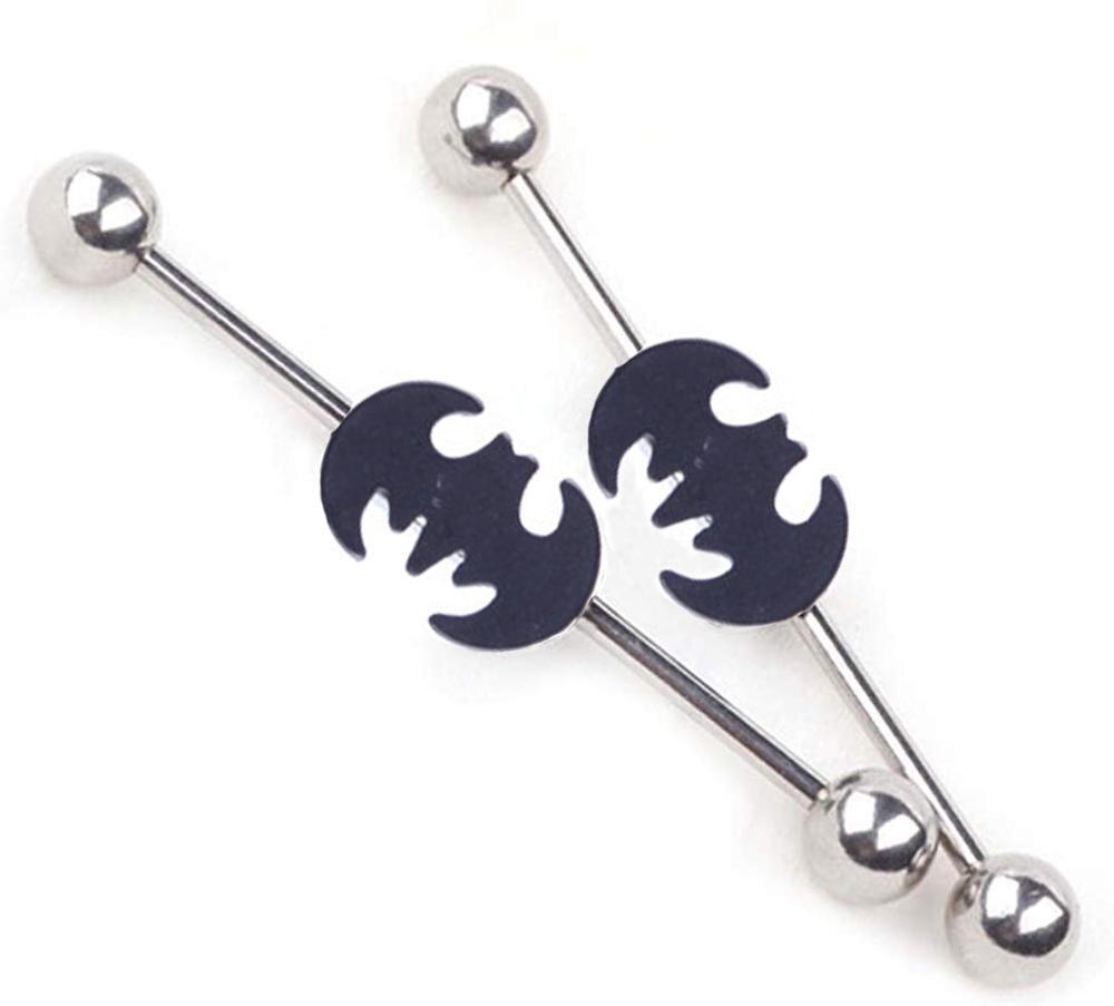 Женские промышленные серьги-гантели, 1 шт., пирсинг ушей Бэтмена, модные ювелирные изделия для тела