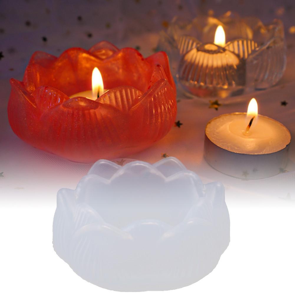 Molde de vela de loto epoxi de cristal, caja de almacenamiento para portavelas de Iglesia, Cenicero, espejo multifuncional, molde de silicona