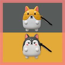 For Airpods 1 3D Cute Kawaii Japanese Anime Cartoon Corgi Husky Case for Apple Airpods 2 Wireless Earphone Protective Cover