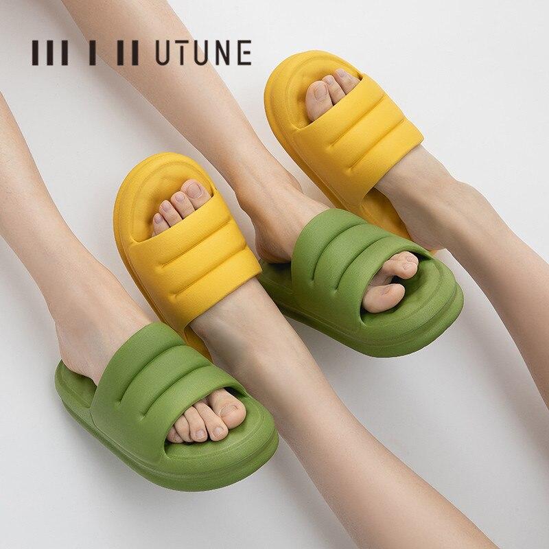 UTUNE Mute EVA Sofa Slides Women Thick Sole Soft Indoor Slippers Women Anti-slip Sandals Men Summer Platform Women Shoes Bath