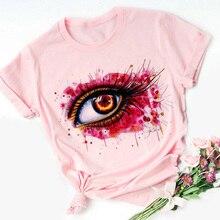 Big Eyes Harajuku Kawaii camiseta rosa de dibujos animados para mujeres, pequeña camiseta fresca 90s camiseta gráfica de moda, camiseta de estilo coreano, camiseta femenina