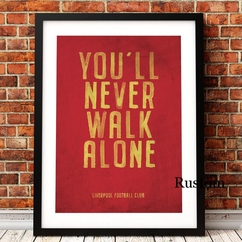 Arte da parede da lona citação vermelha você nunca vai andar sozinho pintura na parede cartazes e impressões para sala de estar interior sem moldura