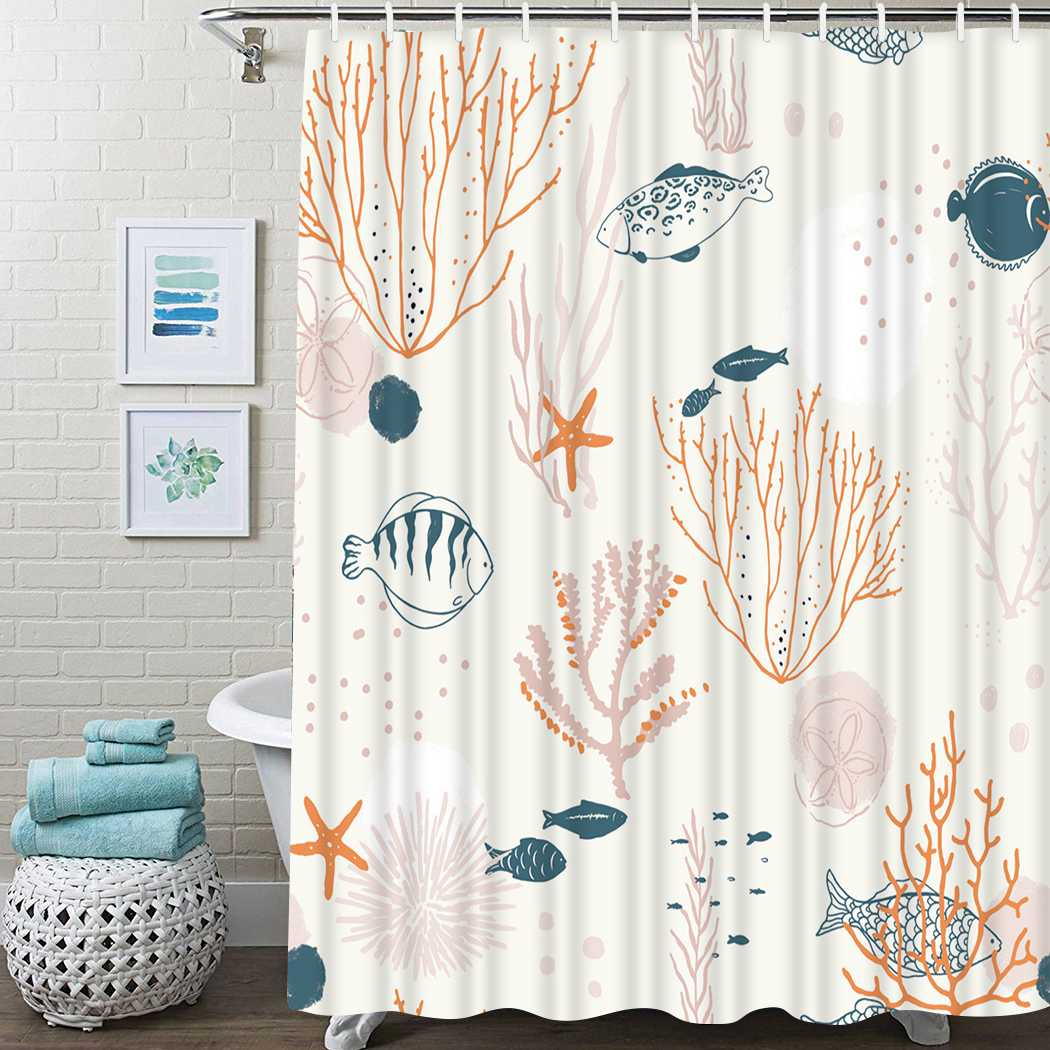 Vintage Ocean Shower Curtain Corals Fishes Shower Curtain Waterproof Fabric For Bathroom Decor Shower Curtains Set With Hooks ocean waves printed shower curtain for bathroom waterproof shower curtain with hook polyester bathroom shower curtain home decor