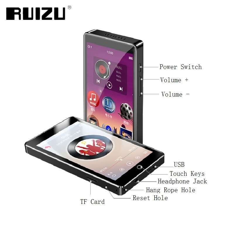 RUIZU H1 MP3 Player Full Touch Screen 4.0inch Bluetooth Music MP3 Player With FM Radio Recording E-book Video Built-in Speaker enlarge