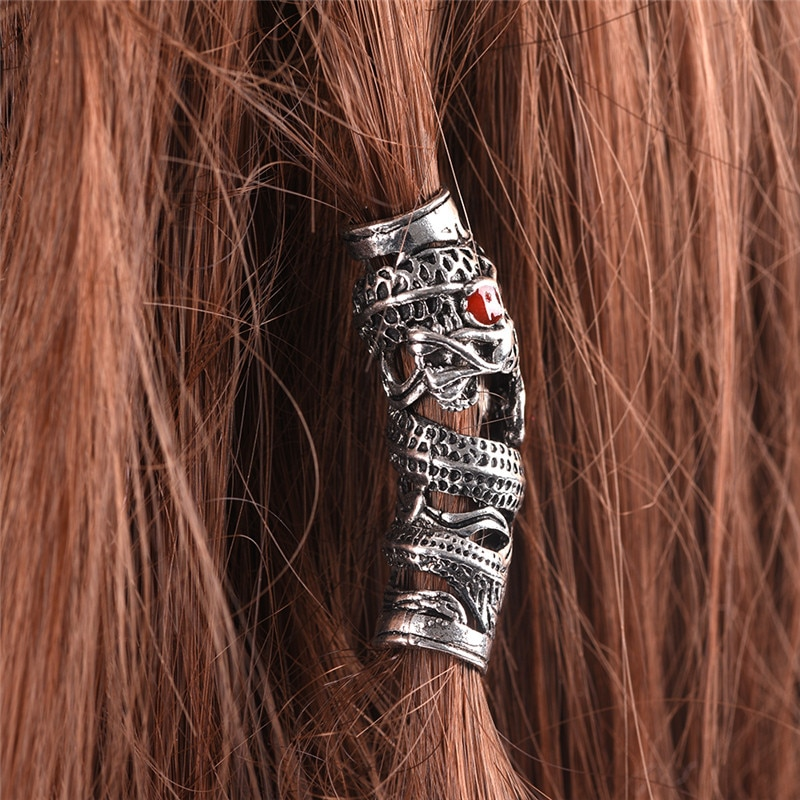 Vintage dragão dreadlock grânulos de cabelo anel diy bracet jóias mão artesanato prata
