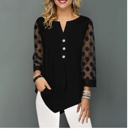 Blusa tipo camisa de talla grande 5xl, Tops negros sólidos con cuello de pico, botones de malla de empalme, manga de nueve puntos, informal suelto de primavera y verano para mujer